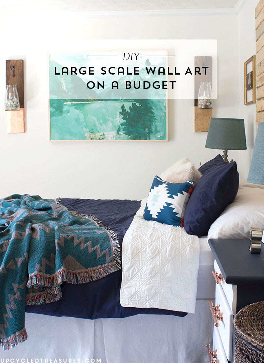 See how easy and inexpensive it is to make this DIY Large Scale Wall Art using engineer prints!