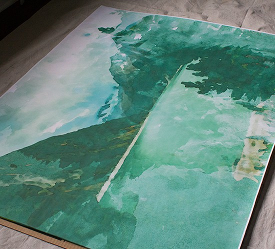 diy massive wall decor watercolor mountains mountainmodernlife.com