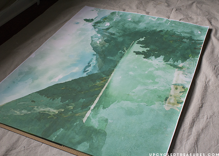 diy massive wall decor watercolor mountains upcycledtreasures. DIY Large Scale Wall Art   Mountain Modern Life