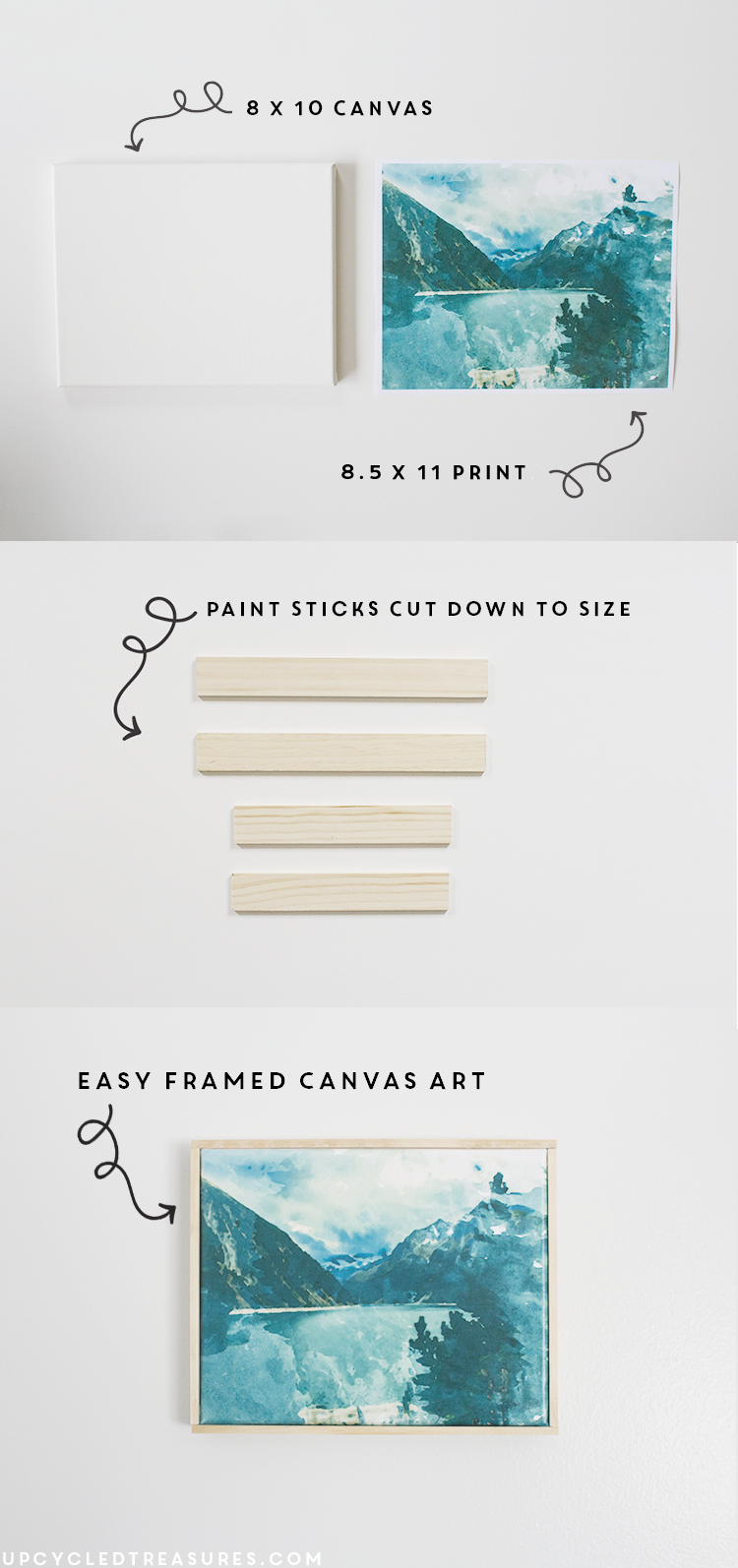 diy wall art from printed photo and upcycled paint sticks. | MountainModernLife.com