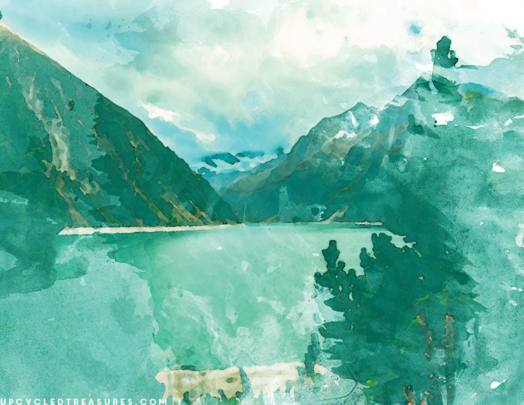 watercolor-mountain-and-lake-wall-art-upcycledtreasures