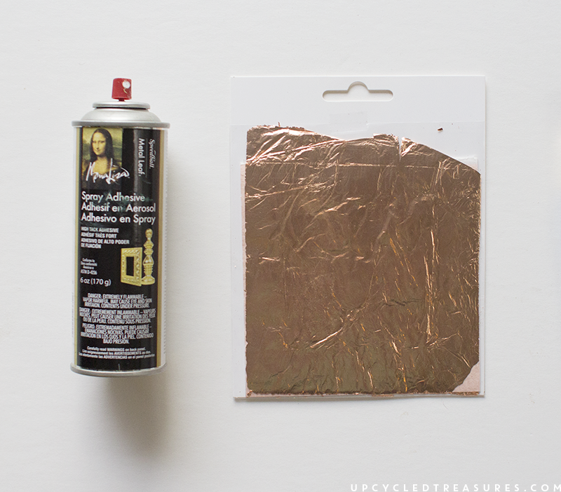 copper-leaf-and-spray-adhesive-upcycledtreasures