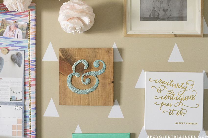 DIY gold foil wall art displayed on wall. MountainModernLife.com