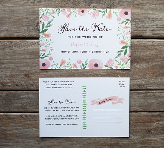 Diy save the date postcard free printable mountain modern life free diy save the date sample floral watercolor garden wedding mountainmodernlife pronofoot35fo Gallery