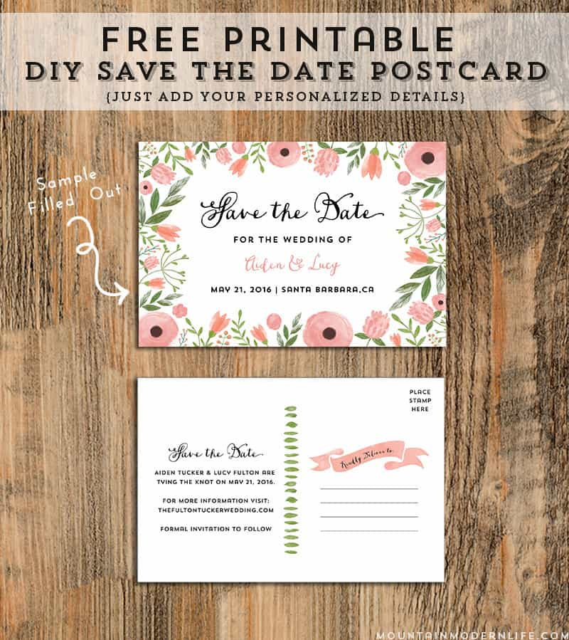 Diy save the date postcard free printable mountain modern life for Save the date postcard template free