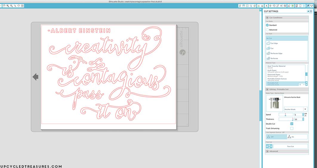 Screenshot inside Silhouette Studio software where words were designed for DIY Gold Foil Wall Art. MountainModernLIfe.com