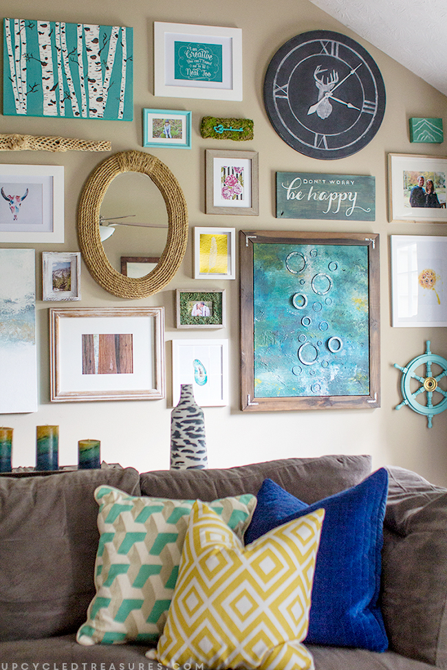 creating-a gallery-wall-in-the-living-room-with-high-ceilings-upcycledtreasures