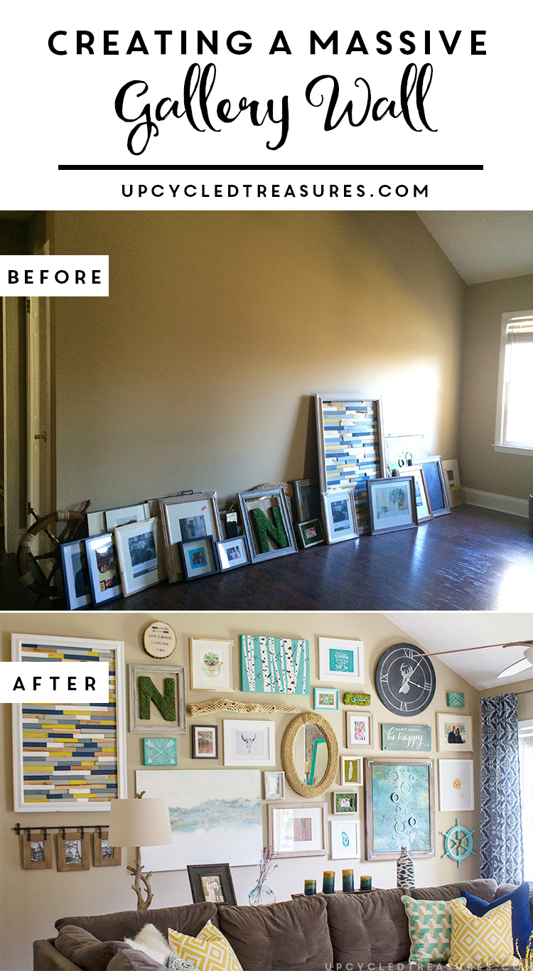 Need a way to fill the empty space on a large wall? How to Create a Massive Gallery Wall filled with DIY projects and upcycled finds. MountainModernLife.com