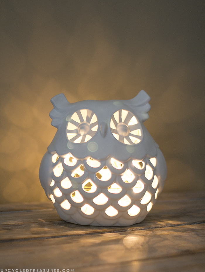 How to Make an Owl Nightlight | upcycledtreasures.com
