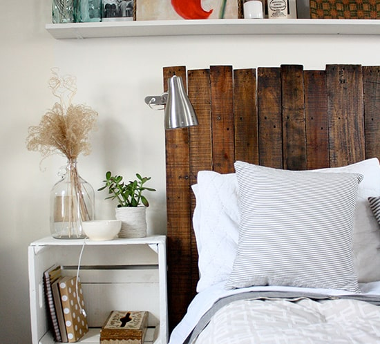 rustic wooden headboard