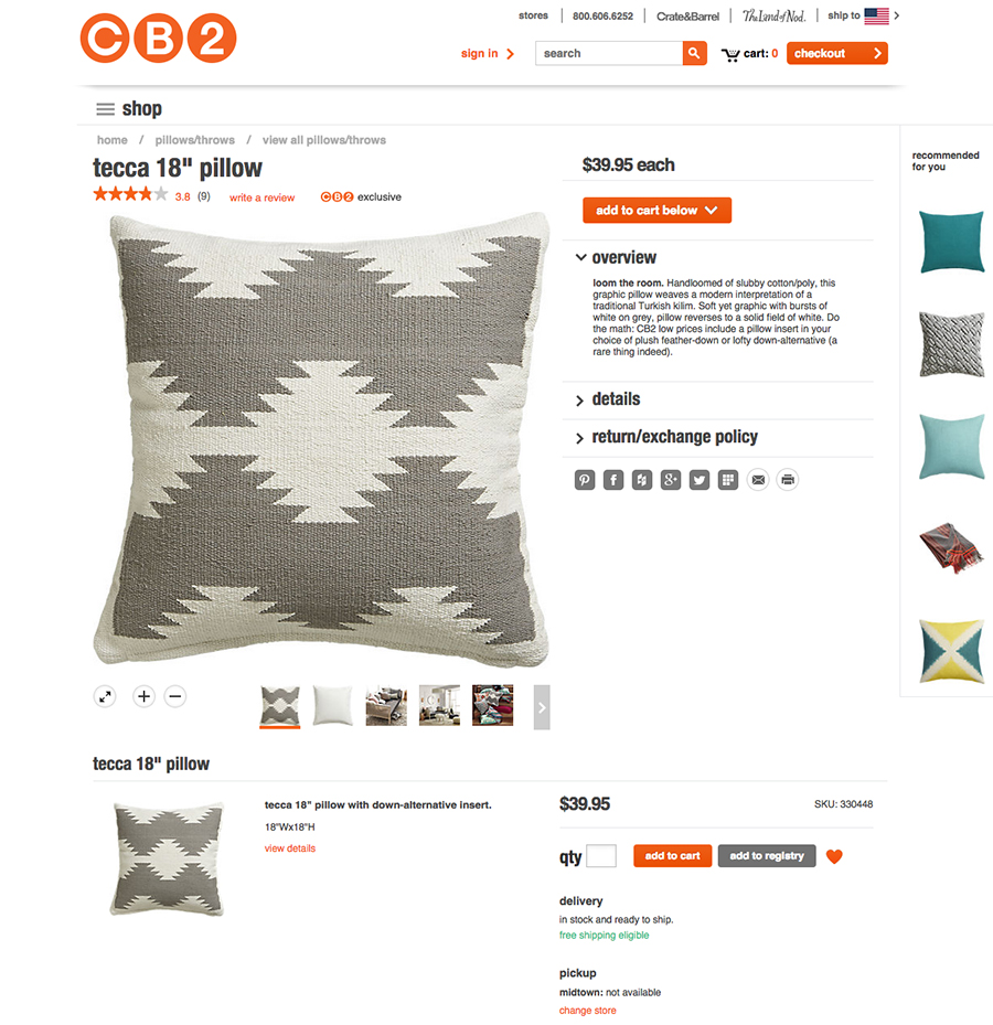 Pillow from CB2 that helped create inspiration for DIY painted pillow. MountainModernLIfe.com