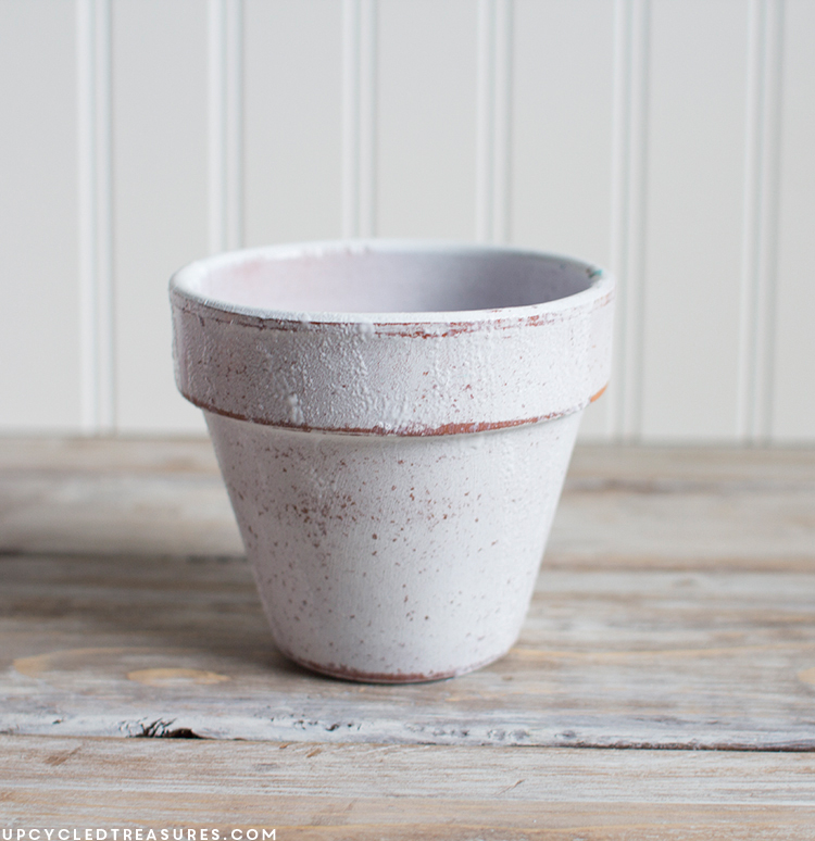 Terra Cotta Pot planter with Modge Podge added to help scarf stick. MountainModernLife.com