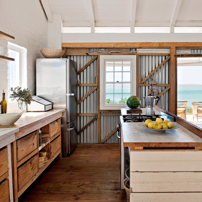 Coastal Kitchen with Corrugated Metal | Home of Architect Peter Mamacos on Laquered Life