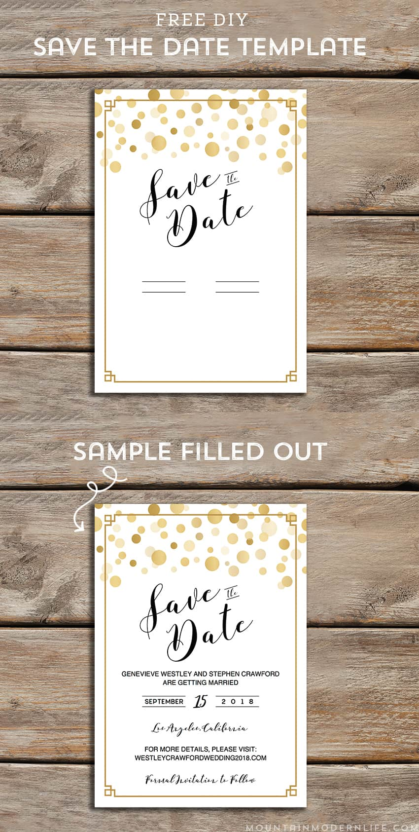 Modern DIY Save the Date FREE Printable | MountainModernLife.com