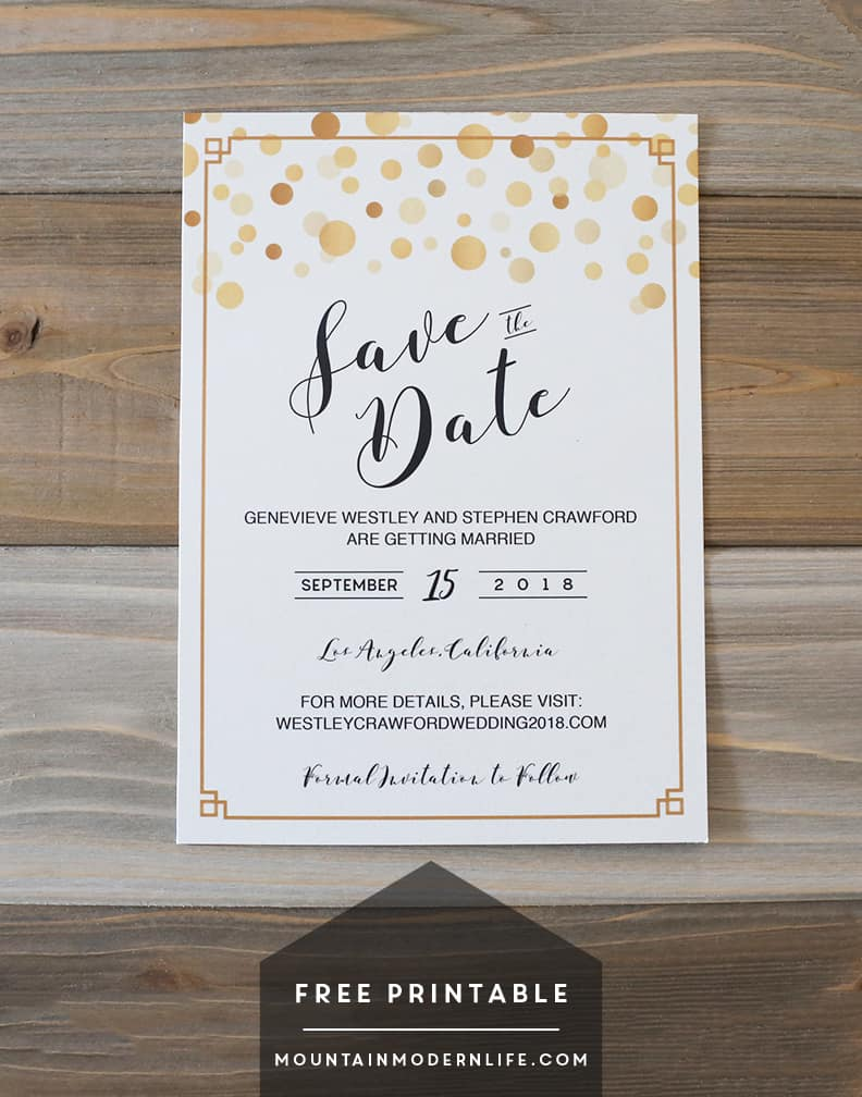 Smart image inside printable save the dates templates