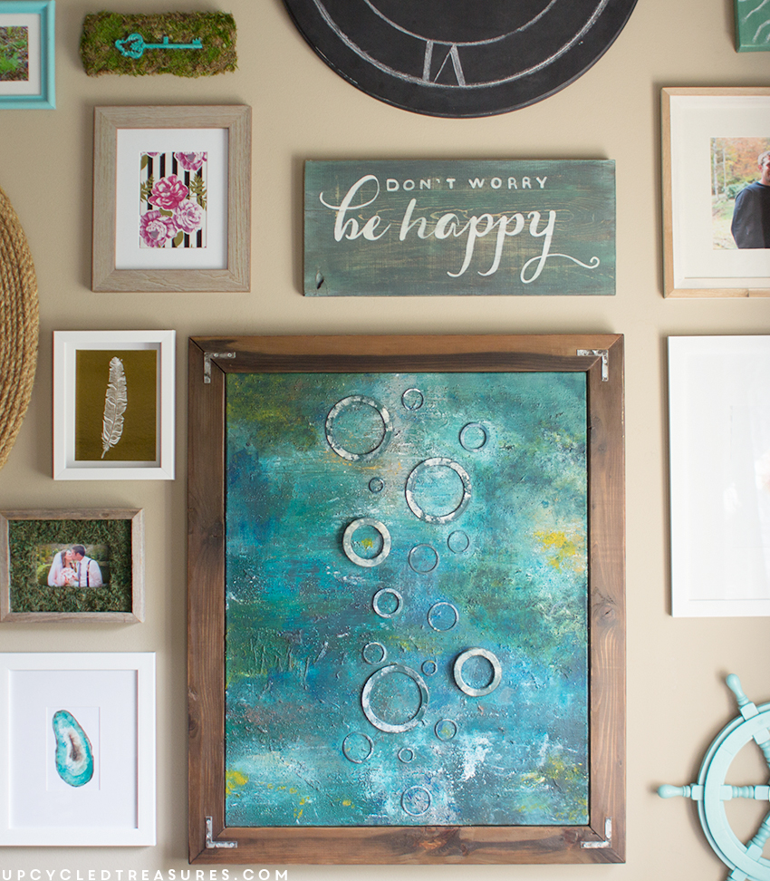 DIY Painted Sign Using Sample Paint and Easy Chalk Transfer Technique | upcycledtreasures.com