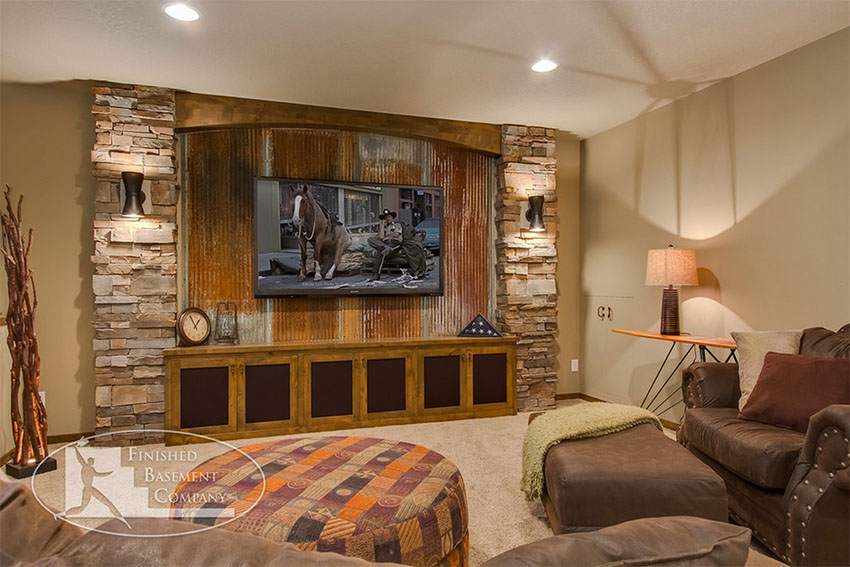 Corrugated metal in interior design for Rustic finished basement