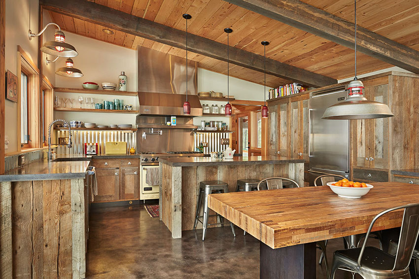Kitchen with Corrugated Metal Backsplash | Lawrence Architecture
