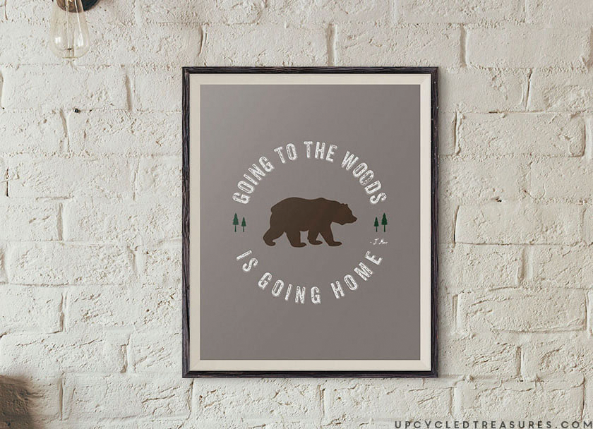 """Download this FREE Printable John Muir Quote, """"Going to the woods, is going home"""". 