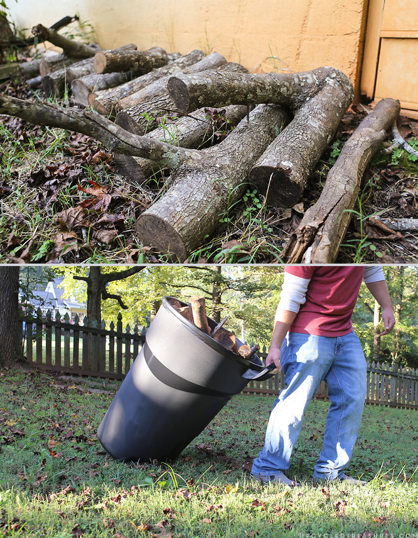 Using trash can to clean up yard and organize scrap wood. MountainModernLife.com
