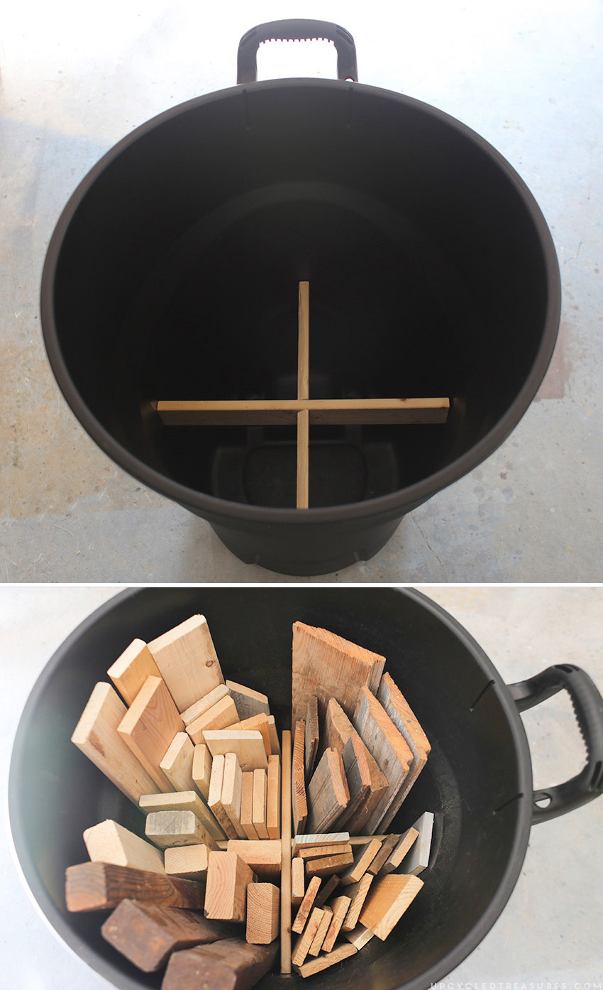 "How we organize scrap wood using trash can and ""X"" shaped brace. MountainModernLife.com"