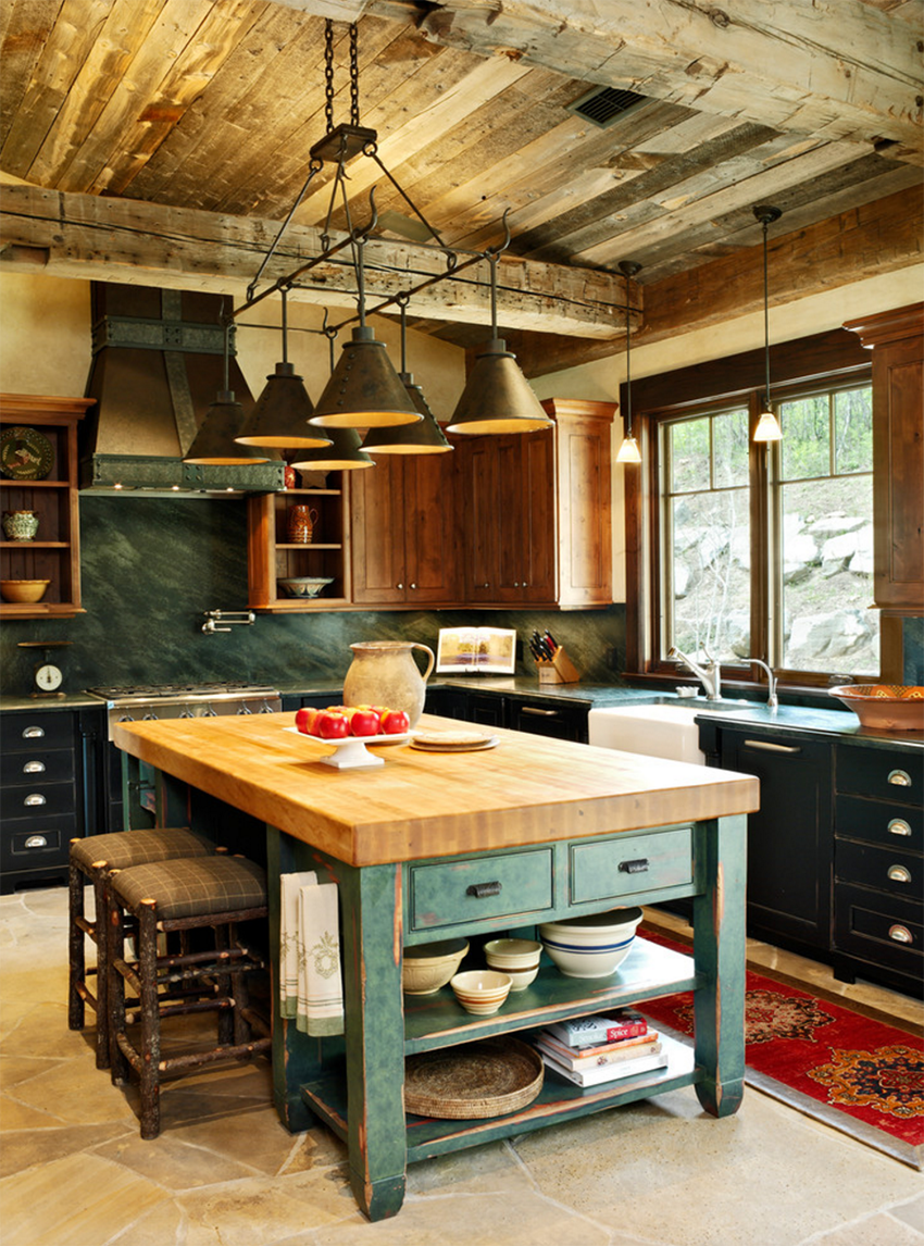 Kitchen awesome furniture with vintage distressed green for Green and white kitchen designs