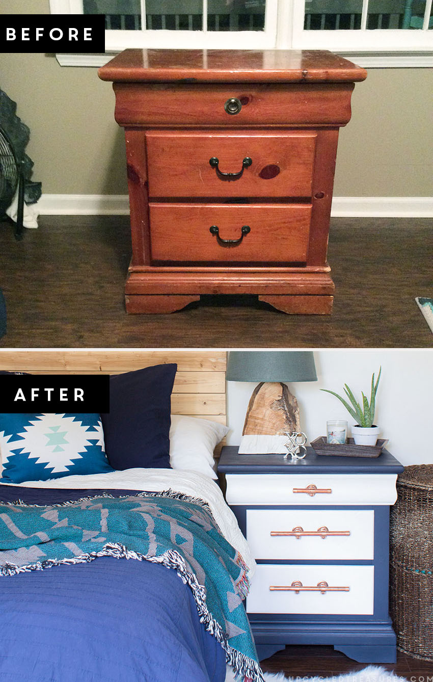 LOVING this color combination of navy and white mixed with the copper pipe drawer pulls on this gorgeous nightstand transformation! MountainModernlife.com