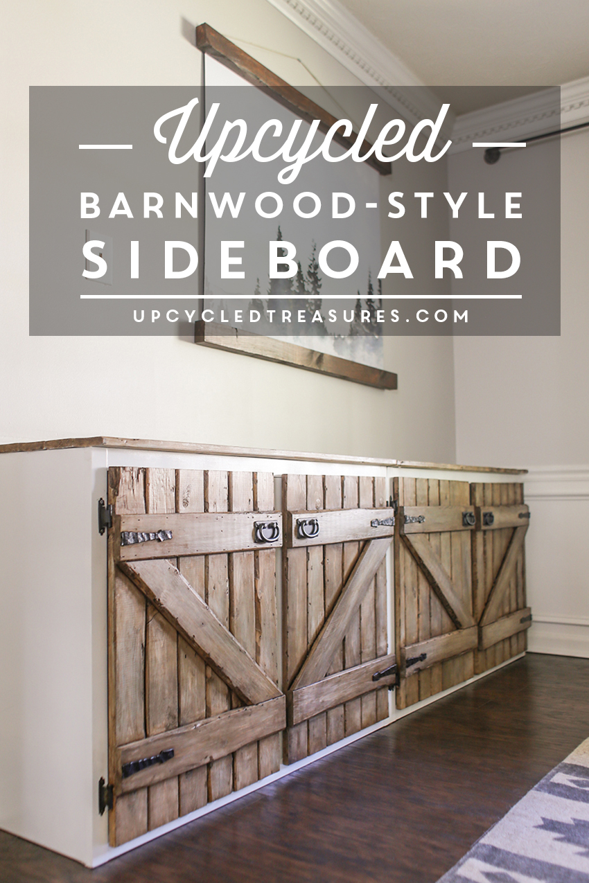 Upcycled Barnwood Style Sideboard Cabinet