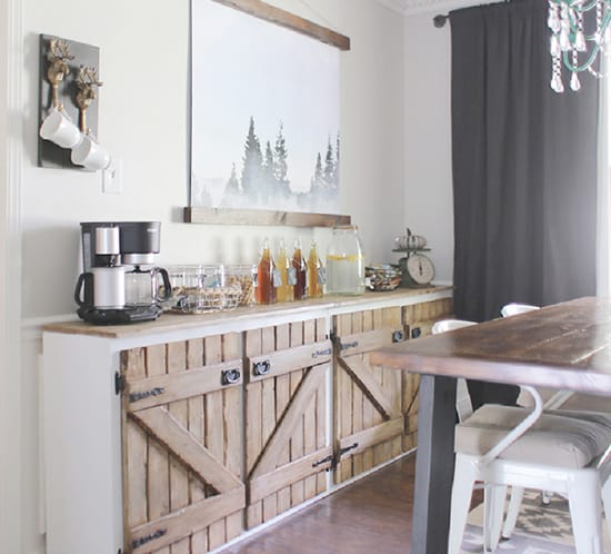 upcycled barnwood style sideboard in dining room mountainmodernlife.com