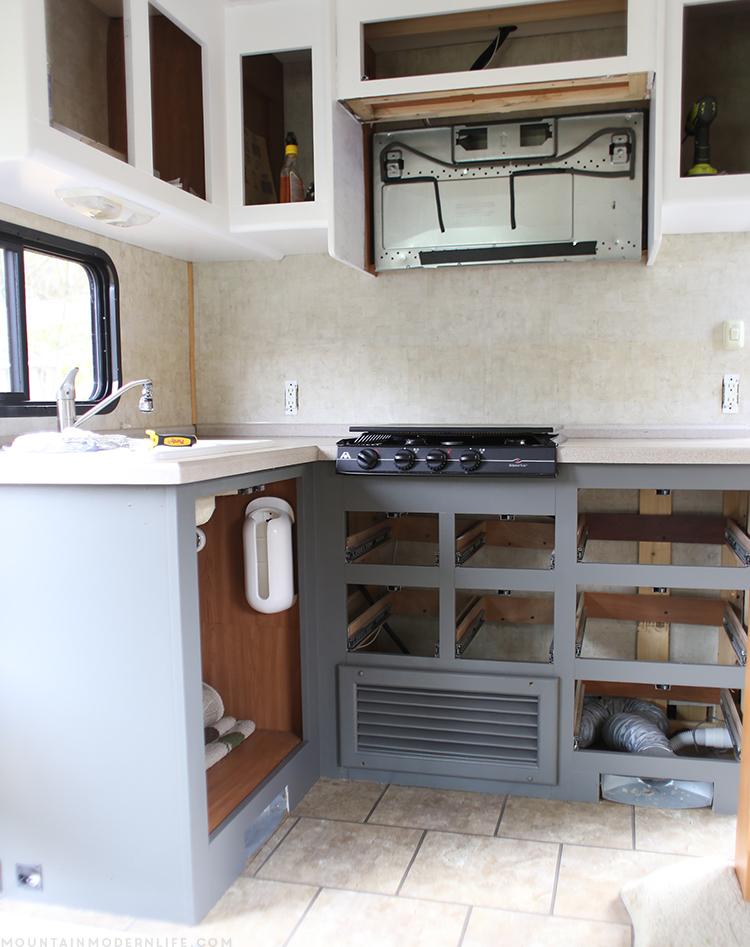 Rv renovation progress mountain modern life for Camper kitchen cabinets