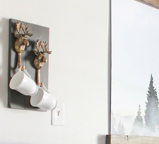 rustic diy moose hook mug holder mountainmodernlife