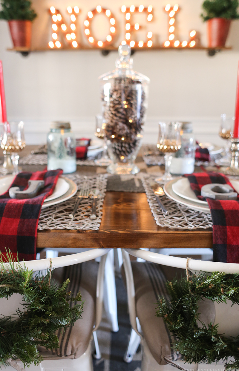 Cabin Inspired Christmas Tablescape