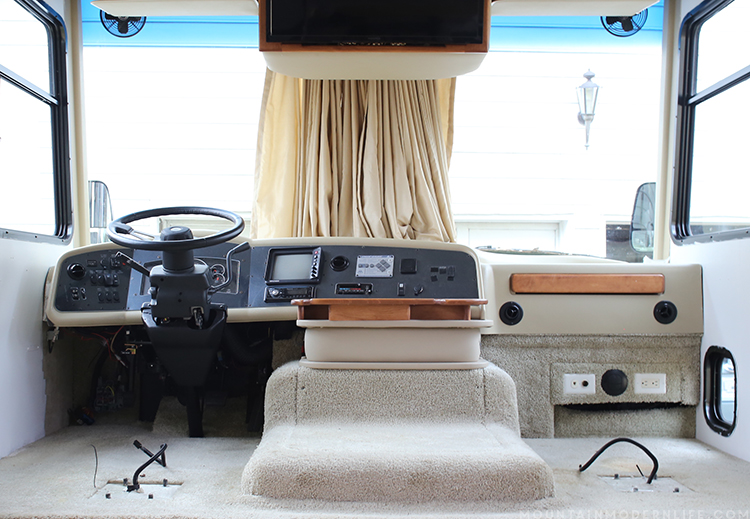 See how easy it is to remove the captain chair from your RV so that you can replace it or move it temporarily for updates | MountainModernLife.com