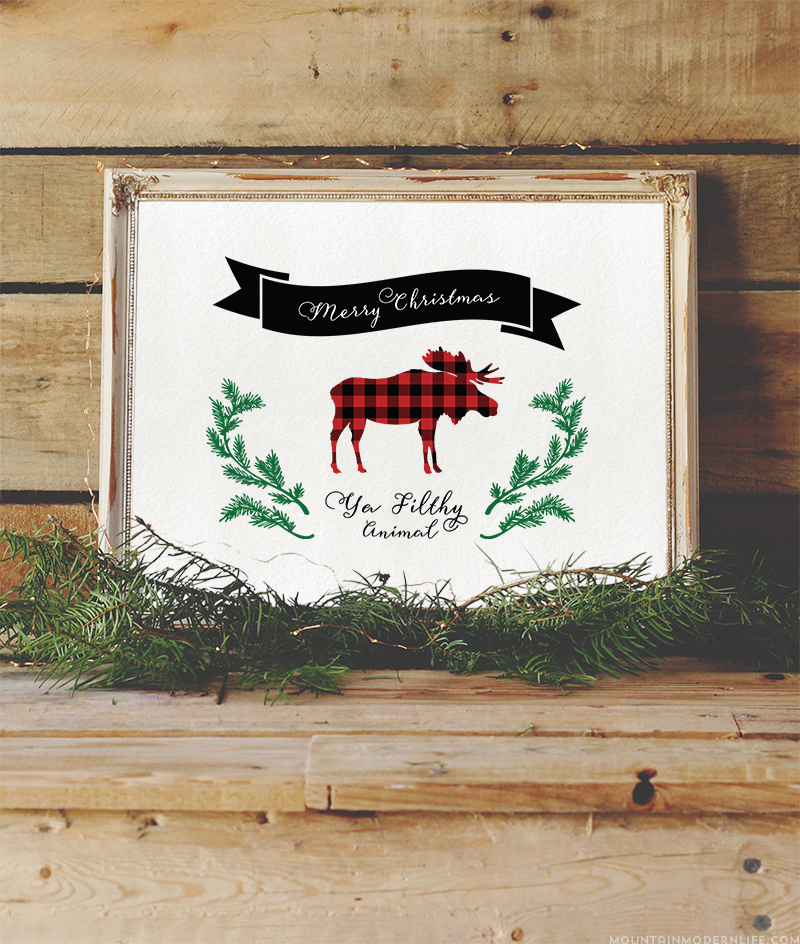 "Add some humor to your holiday decor or cards with this printable that says ""Merry Christmas Ya Filthy Animal Printable"", a memorable quote from the movie Home Alone. MountainModernLife.com"