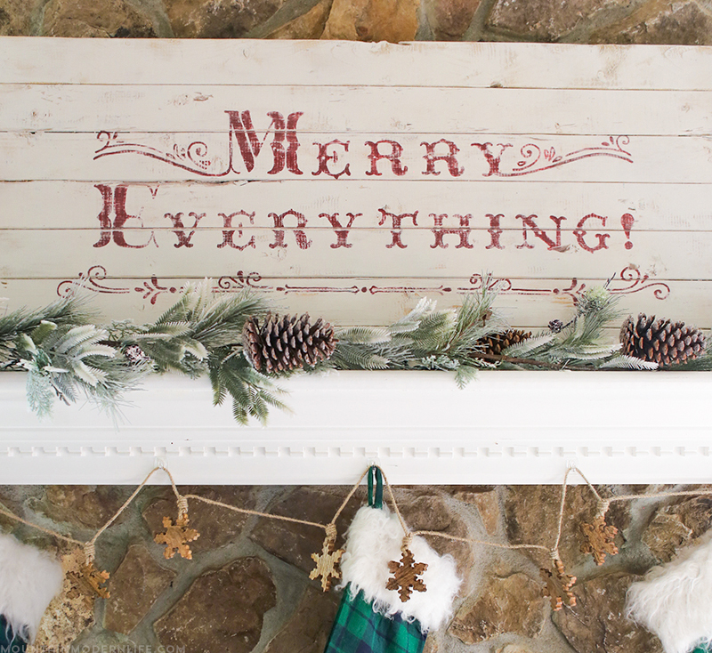 See how easy it is to create a vintage-style Merry Everything sign using a simple design transfer technique! MountainModernLife.com
