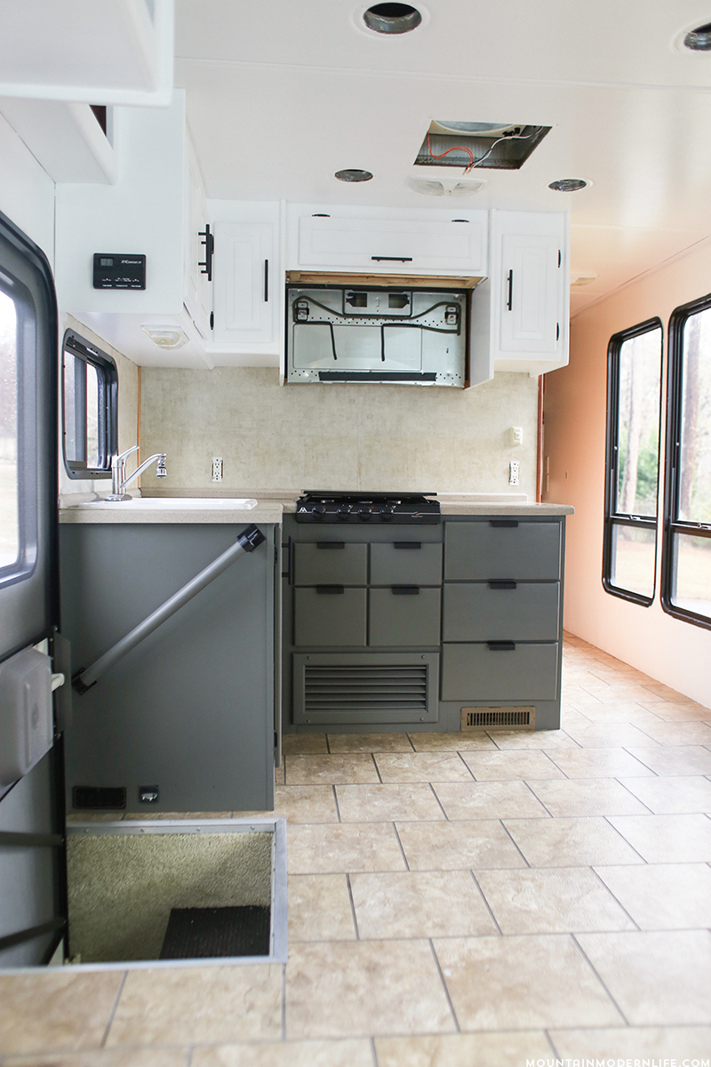 Camper Trailer Kitchen Designs The Progress Of Our Rv Kitchen Cabinets Mountain Modern Life