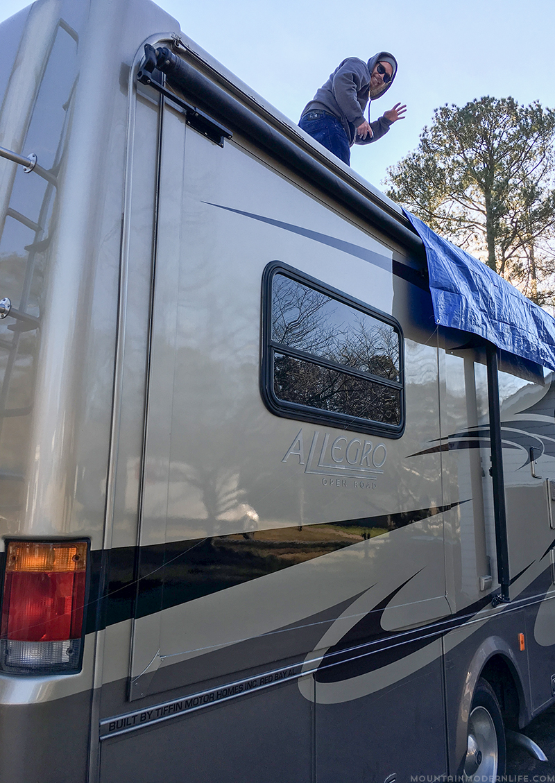 tarp-on-rv-for-bathroom-vent-ceiling-leak-mountainmodernlife.com