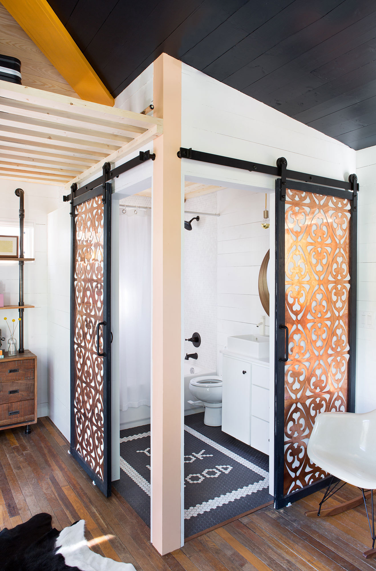Copper Paneled Sliding Doors | Lonny Magazine Photo by Molly Winters