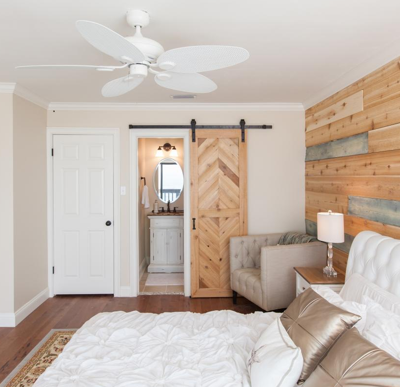 Cedar Herringbone Sliding Barn Door | HGTV Beach Flip | Photo by Todd Douglass / Getty Images