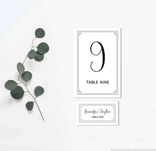 Printable Lavender DIY Table Numbers and Place Cards