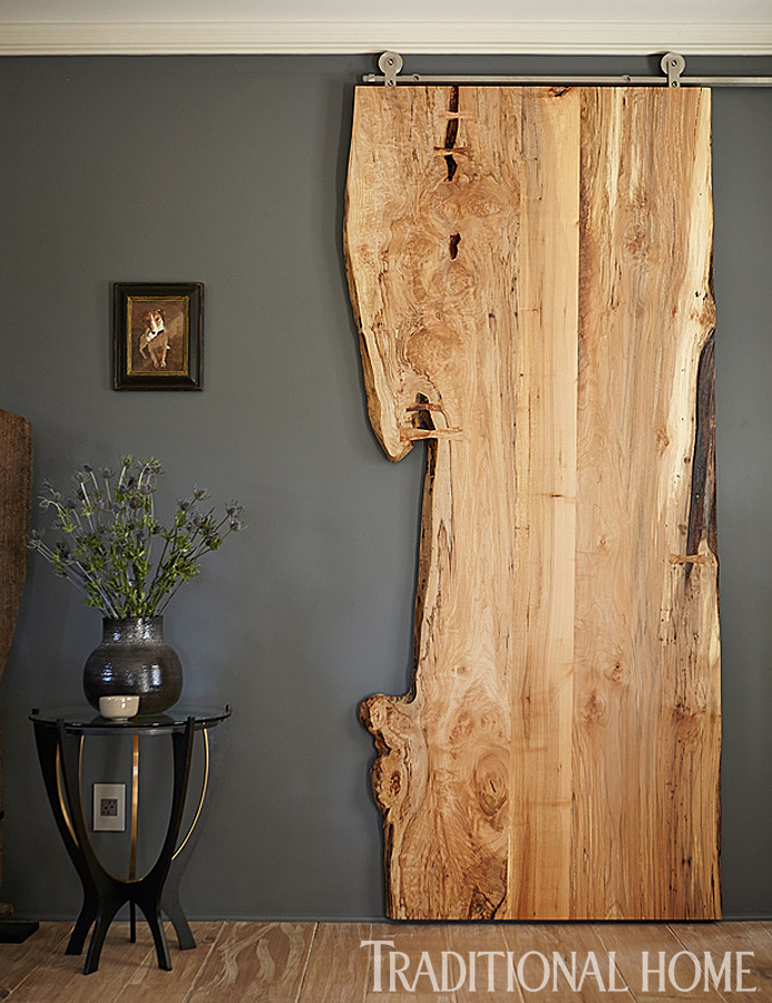 Live Edge Wood Sliding Door | Traditional Home/Cathleen Gouveia Design