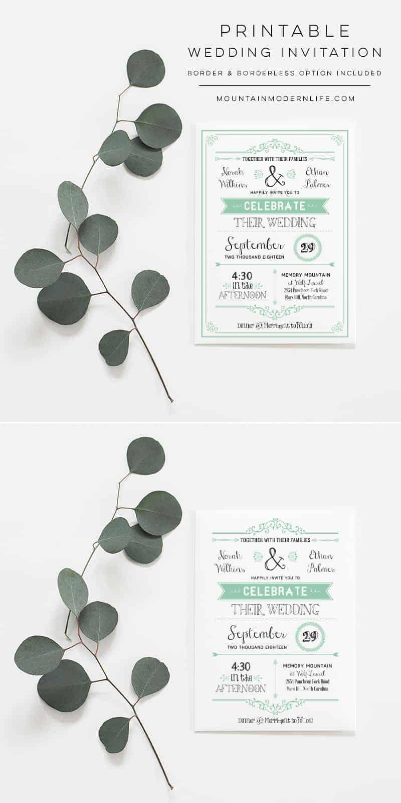 Printable DIY Wedding Invitation | MountainModernLife.com