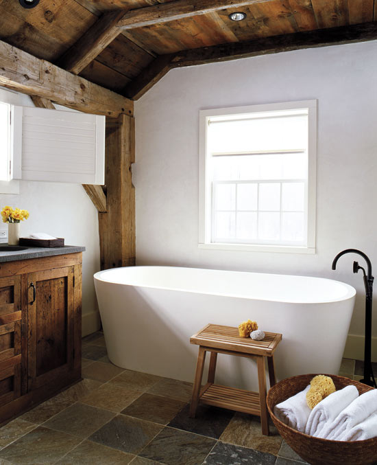Rustic Modern Bathroom Designs | Photography by Eric Piasecki via Style at Home