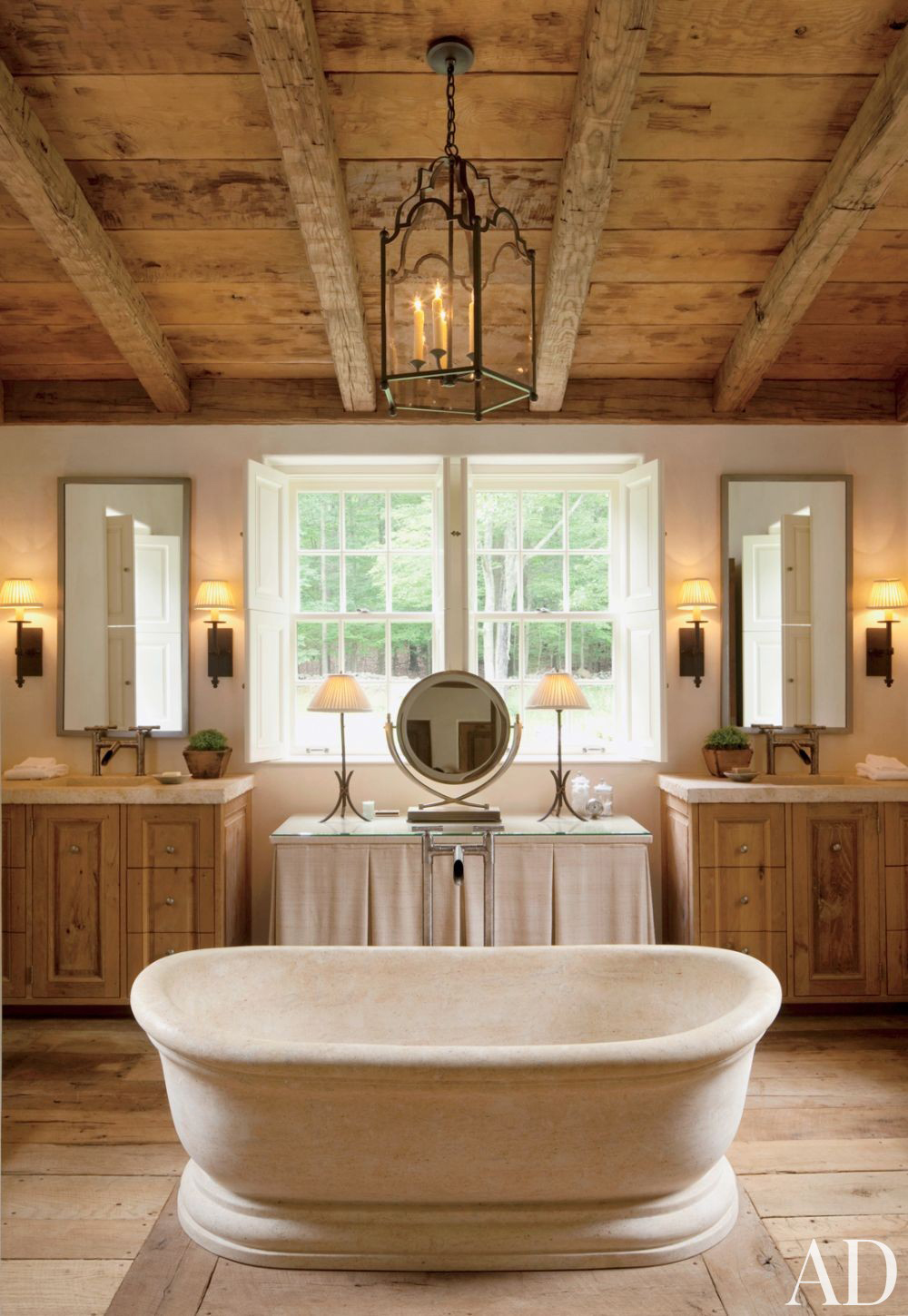 Modern rustic bathroom design - Rustic Modern Bathroom Designs John Cottrell Co G P Schafer Architect Via Architectural Digest