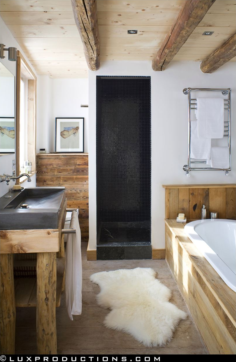 Rustic modern bathroom designs for Modern chic bathroom designs