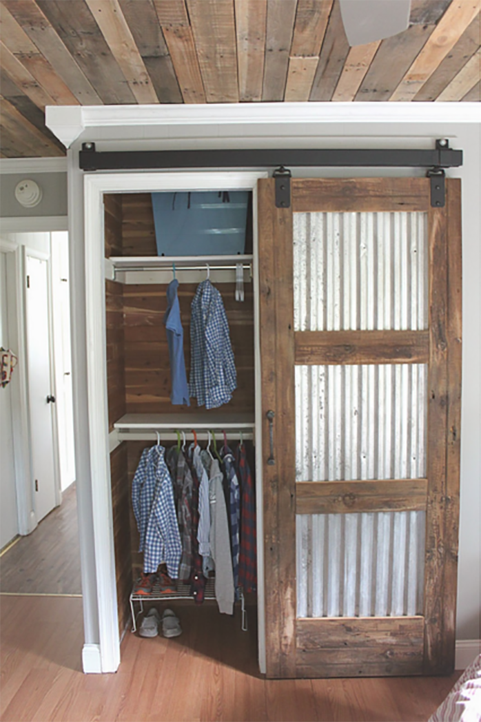 Corrugated Tin and Wood Sliding Barn Door | Maple Leaves Sycamore Trees