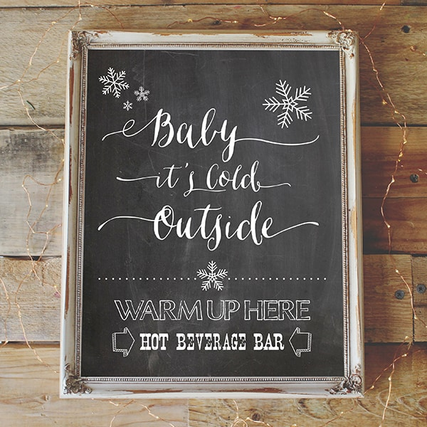 Hot Beverage Bar Printable - Vintage Style Chalkboard Background