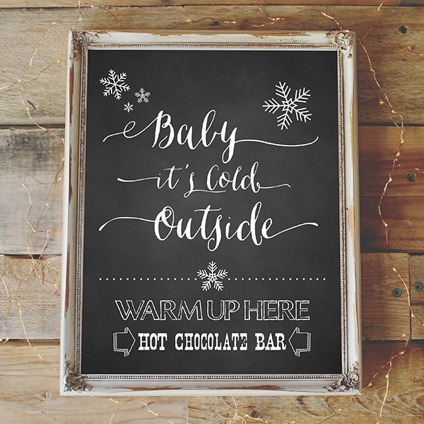 Hot Chocoalate Bar Printable - Clean Chalkboard Background