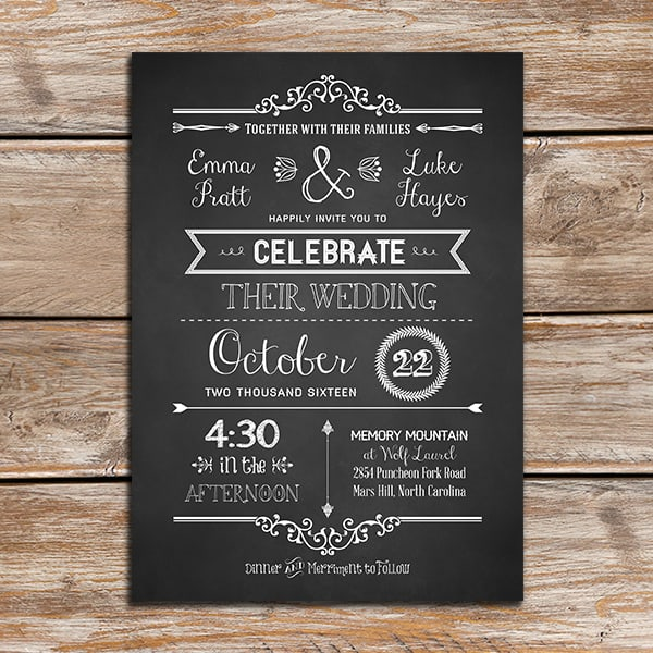Diy Chalkboard Wedding Invitations: Vintage Rustic DIY Wedding Invitation Template