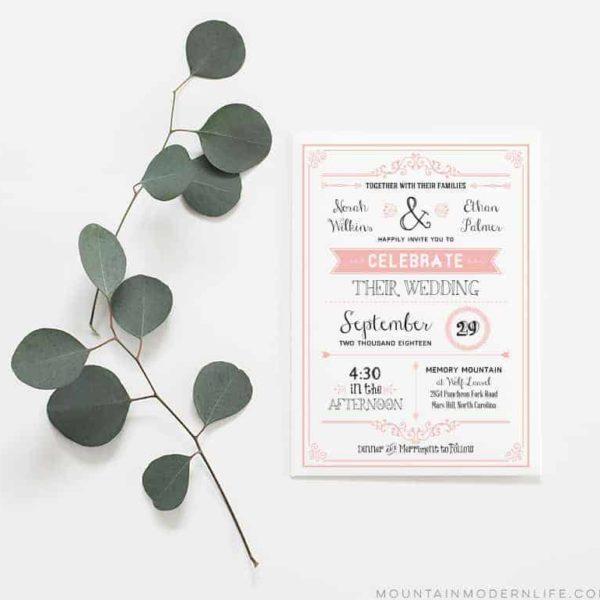 Printable DIY Wedding Invitation